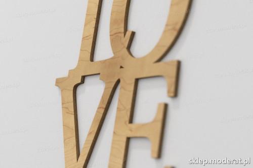 napis dekoracyjny Love - drewniane litery ze sklejki