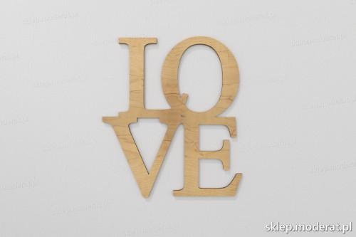 'Love'' napis ścienny 3d wycięty laserem ze sklejki brzozowej