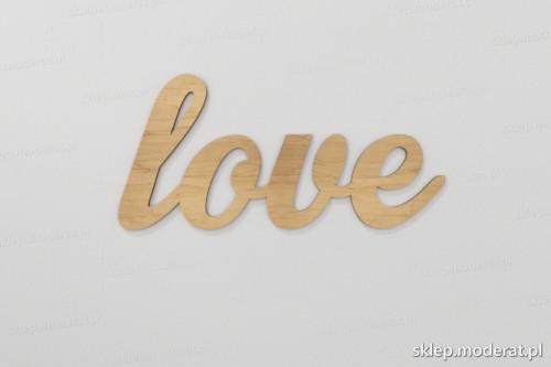 ''Love'' napis ścienny wycięty laserem ze sklejki brzozowej