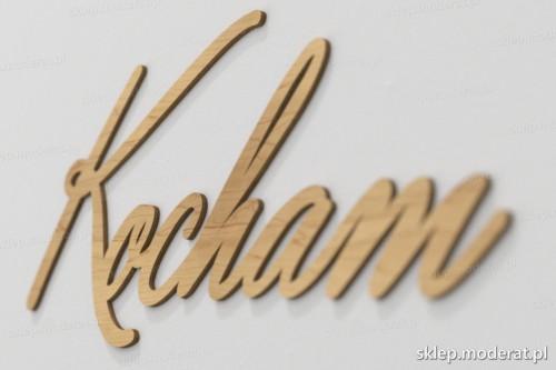 napis dekoracyjny Kocham - drewniane litery ze sklejki