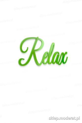 Estetyczny napis ''Relax'' - drewniany napis na ścianę efekt lepszy od naklejki