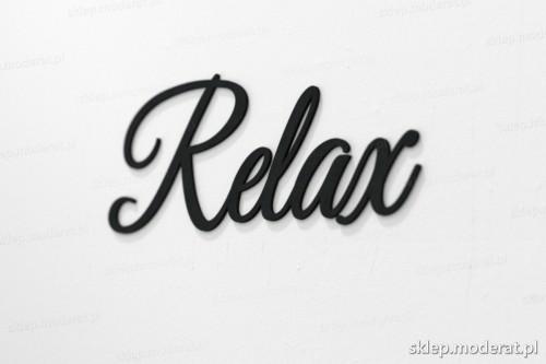 napis na ścianę z czarnej płyty hdf - Relax - modny dodatek do wnętrz