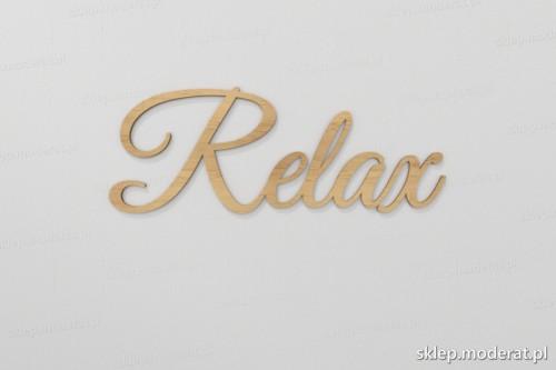 ''Relax'' napis ścienny wycięty laserem ze sklejki brzozowej