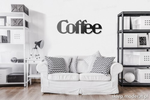 napis na ścianę Coffee w pokoju dziennym
