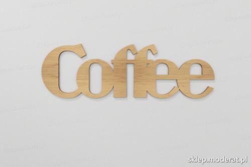 ''Coffee'' napis ścienny wycięty laserem ze sklejki brzozowej