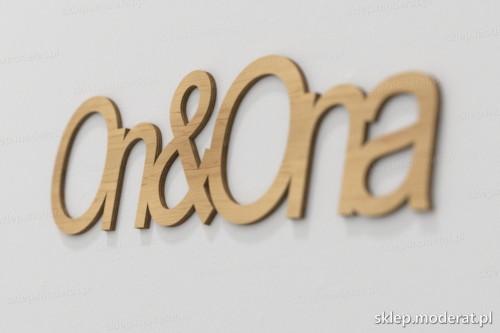 napis dekoracyjny Ona i on - drewniane litery ze sklejki