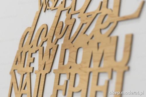 napis dekoracyjny Wszędzie dobrze ale w domu najlepiej - drewniane litery ze sklejki
