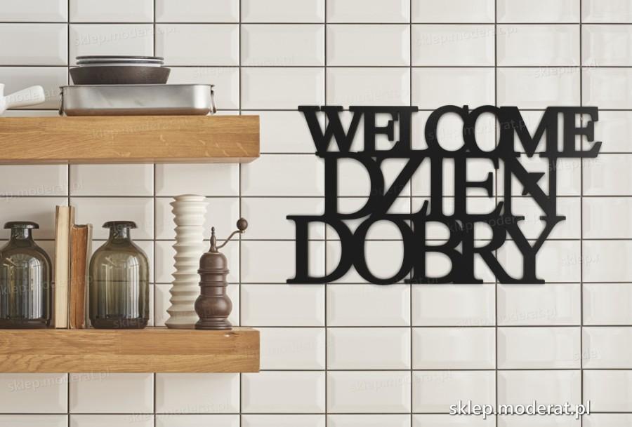 ''Welcome dzień dobry'' napisy ścienne - napis 3d zdjęcie na ścianie