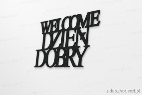 napis na ścianę z czarnej płyty hdf - Welcome dzień dobry - modny dodatek do wnętrz