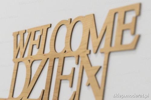 napis dekoracyjny Welcome dzień dobry - drewniane litery ze sklejki