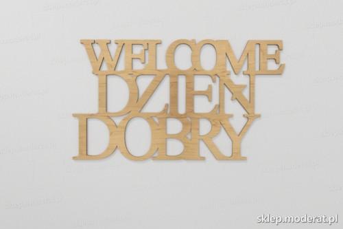 ''Welcome dzień dobry'' napisy ścienne wycięty laserem ze sklejki brzozowej