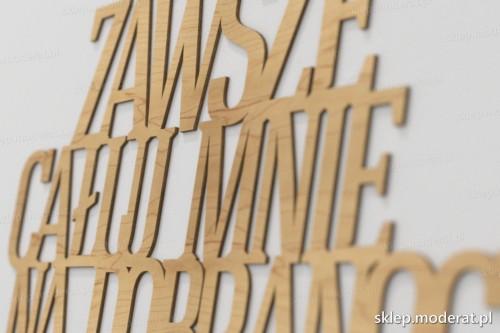 napis dekoracyjny Zawsze całuj mnie na dobranoc - drewniane litery ze sklejki