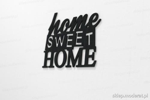 napis na ścianę z czarnej płyty hdf - Home sweet home - modny dodatek do wnętrz