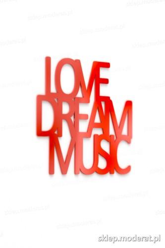 Fajne napisy ''Love dream music'' - drewniany napis na ścianę efekt lepszy od naklejki