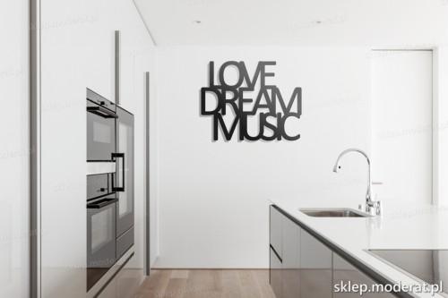 dekoracja na ścianę Love dream music w kuchni
