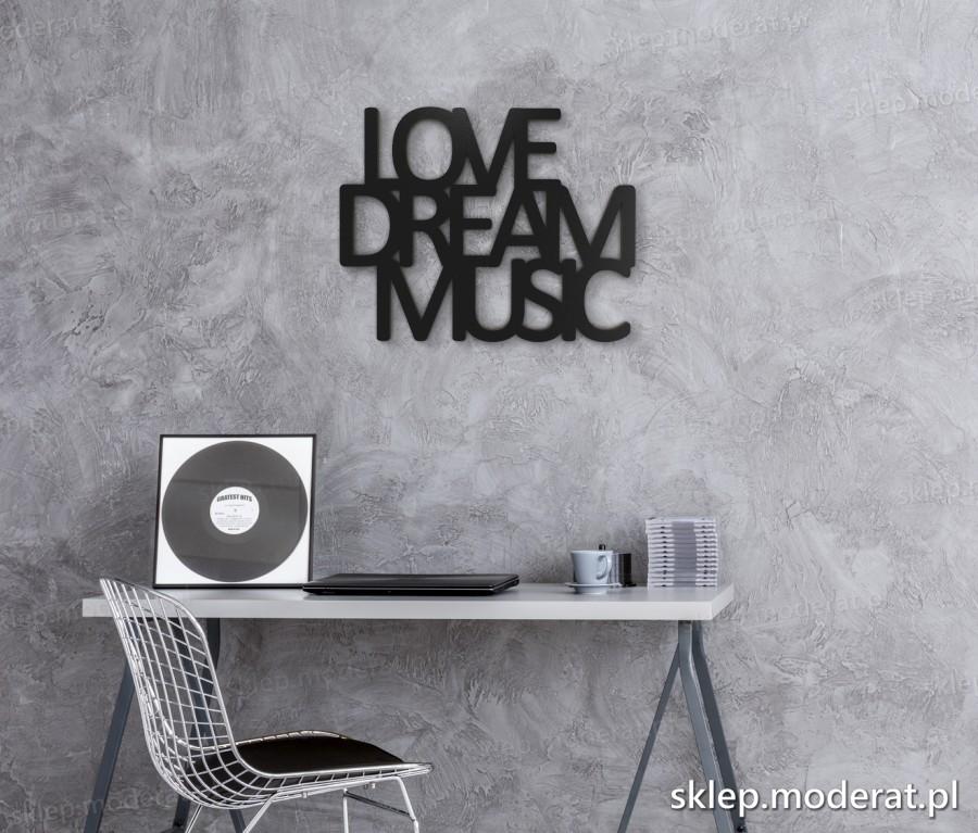 ''Love dream music'' napisy ścienne - napis 3d zdjęcie na ścianie