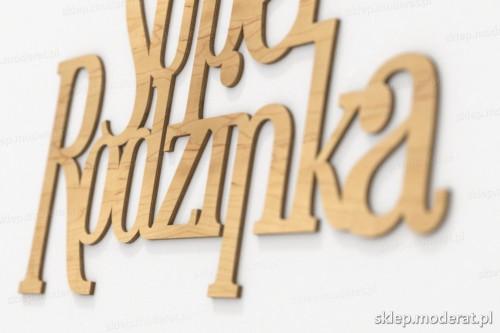 napis dekoracyjny Superrodzinka - drewniane litery ze sklejki