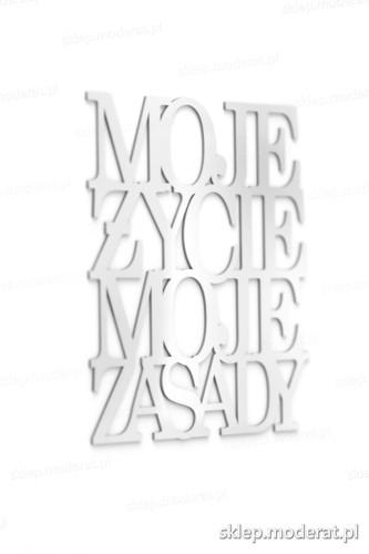 Ciekawy cytat ''Moje życie moje zasady'' - drewniany napis na ścianę efekt lepszy od naklejki