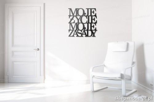 dekoracja na ścianę Moje życie moje zasady w przedpokoju