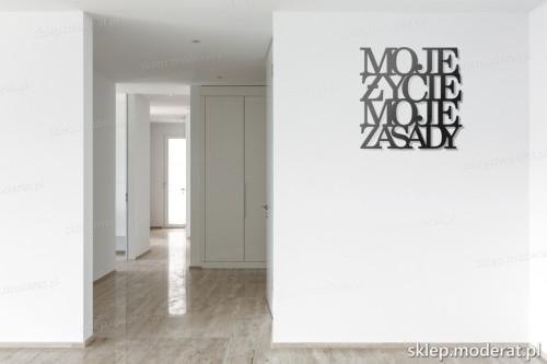 napis 3d Moje życie moje zasady pomysł na pustą ścianę