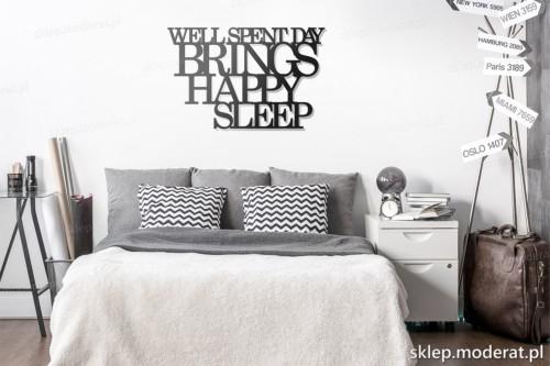 dekoracja na ścianę Well spent day brings happy sleep skandynawski styl