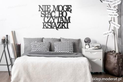 dekoracja na ścianę Nie mogę spać bo czytam książki skandynawski styl